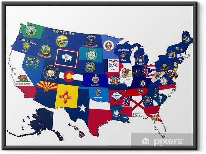 Poster i Ram Karta över USA med statligt sjunker - Amerikanska städer