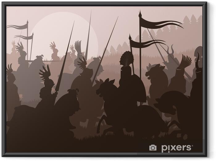 Poster i Ram Medeltida riddare i strid vektor bakgrund - Riddare