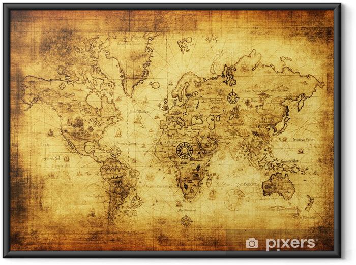 Çerçeveli Poster Dünyanın antik harita. -