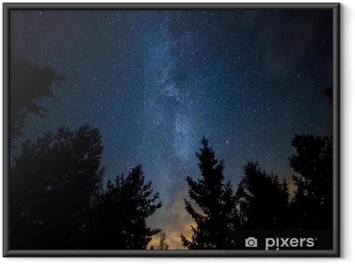 Póster Enmarcado Vía Láctea sobre el Bosque - Temas
