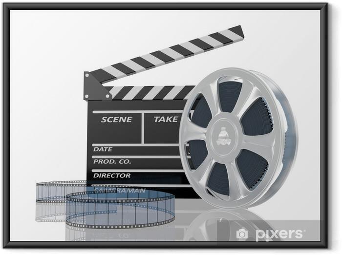 Ingelijste Poster 3D-afbeelding van de film klap en film reel, over wit - Kunst en Creatie