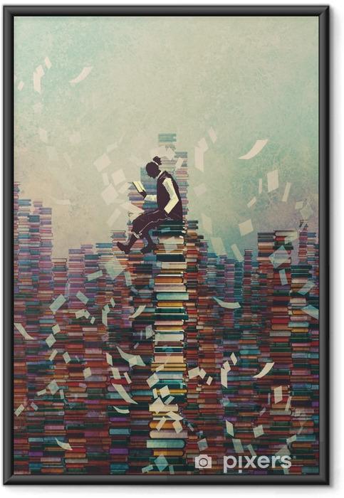 Ingelijste Poster Man het lezen van boek zittend op stapel boeken, kennis concept, illustratie painting - Hobby's en Vrije tijd