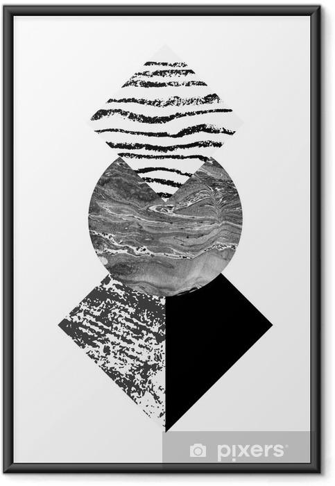 Plakat w ramie Streszczenie geometrii kształtów z akwarelą i grunge tekstury - Zasoby graficzne