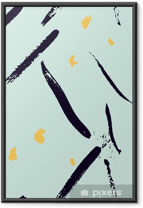Póster com Moldura Mão abstrata pincelada sem emenda desenhado formas padrão de textura. Simples moderna de impressão chevron geométrica no vetor. Hipster padrão elegante. - Recursos Gráficos