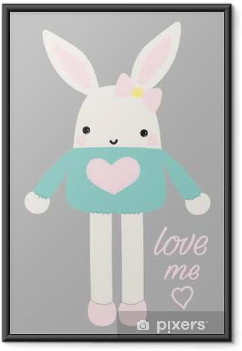 Plakat w ramie Ładny ilustracji wektorowych królik - Zasoby graficzne