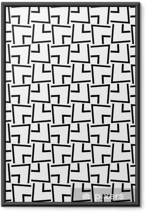 Innrammet plakat Sømløs svart og hvitt geometrisk mønster - Grafiske Ressurser