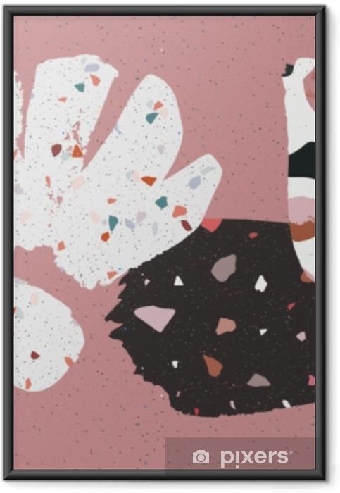 Ingelijste Poster Terrazzo, beton en hand getekende brushstokes collage. abstracte poster of kaart. abstact kunst. verjaardag, jubileum, Valentijnsdag, feestuitnodigingen, bruiloft, covers. - Levensstijl