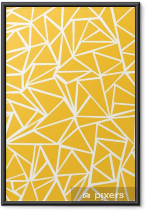 Gerahmtes Poster Abstrakter gelber Senf, weiße geometrische und Dreieckmuster für Hintergrundbeschaffenheit. - Grafische Elemente