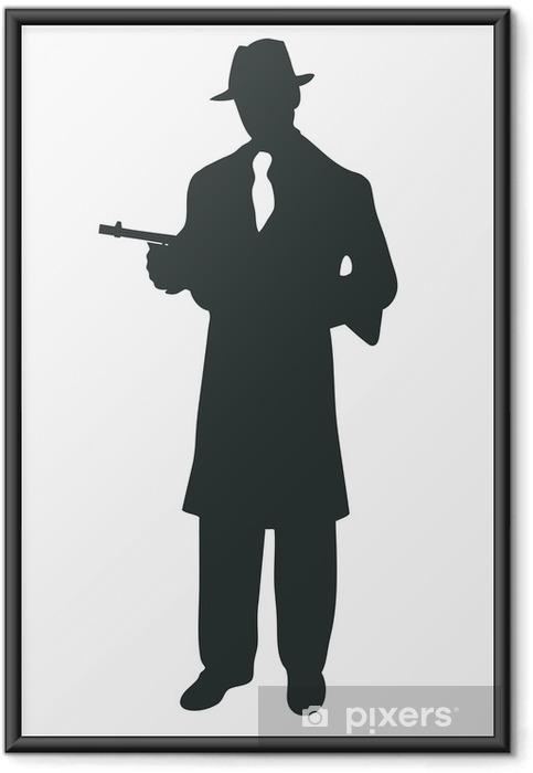 Ingelijste Poster Gangstar silhouet met tommy gun - Zakelijke Concepten