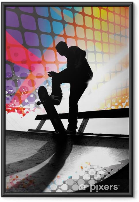 Plakat w ramie Abstract skater - Skateboarding