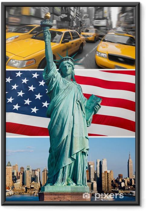 Poster i Ram New York, staty de la liberté, taxi, skyline - Amerikanska städer