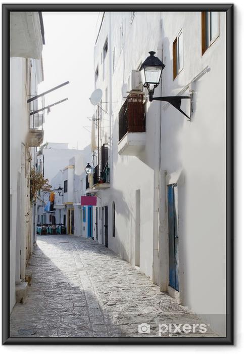 Plakat w ramie Ibiza białe domy downtown wąskiej uliczce - Tematy