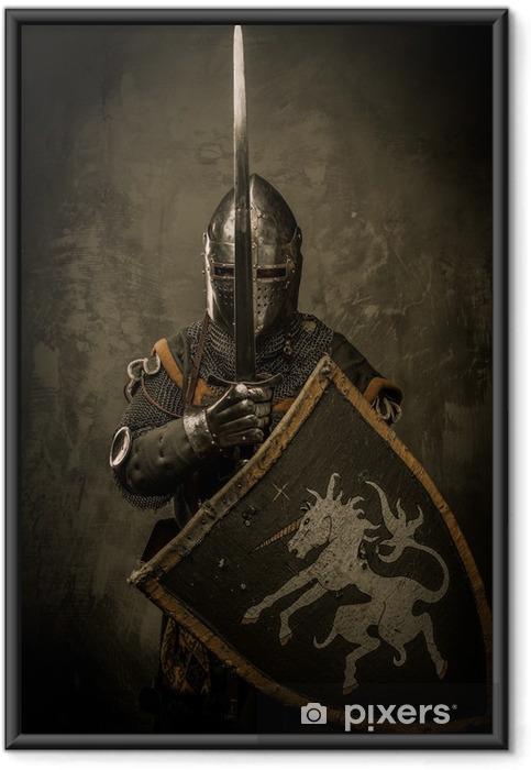 Ingelijste Poster Middeleeuwse ridder op een grijze achtergrond. - Ridders