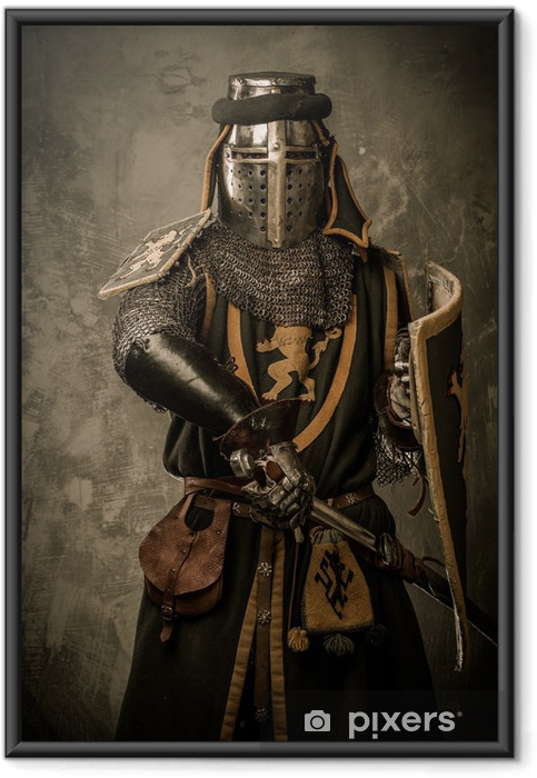 Poster i Ram Medeltida riddare med svärd och sköld mot stenmur - Riddare
