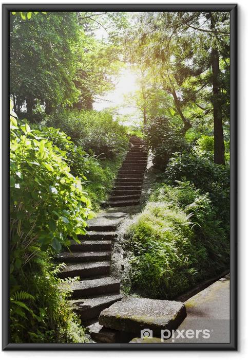 Plakat w ramie Kamienne schody w parku - Pory roku
