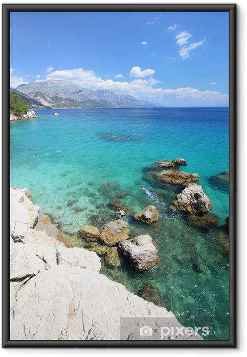 Plakat w ramie Wakacje Chorwacja - Marusici beach Morza Adriatyckiego - Tematy