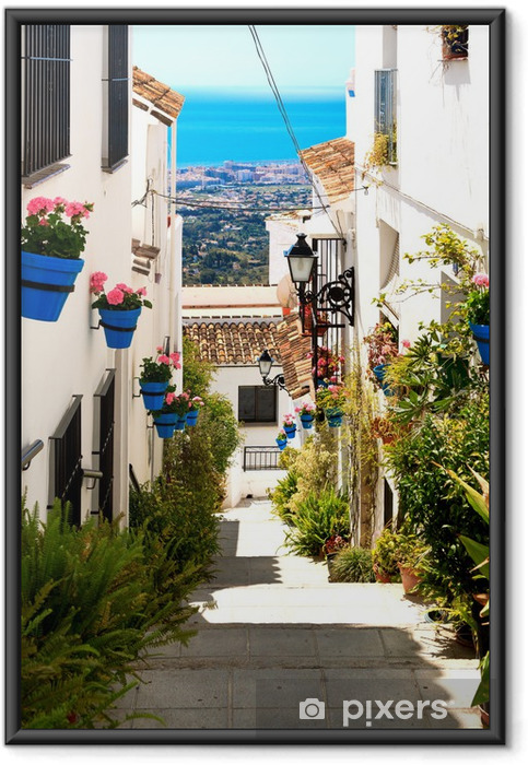 Poster en cadre Belle rue avec des fleurs dans la ville de Mijas, Espagne - Thèmes