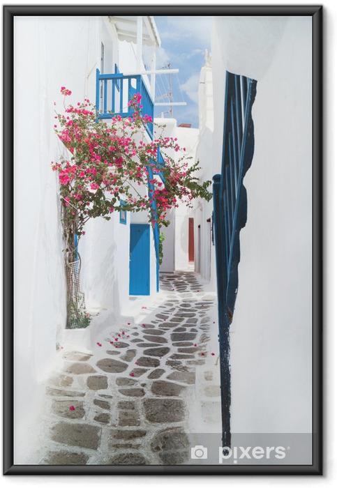 Plakat w ramie Tradycyjne greckie wyspy Mykonos dom grecja, - Tematy