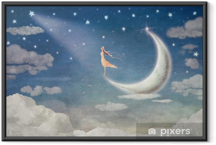 Póster com Moldura Garota na lua admira o céu noturno - arte de ilustração - Sentimentos, Emoções e Estados mentais