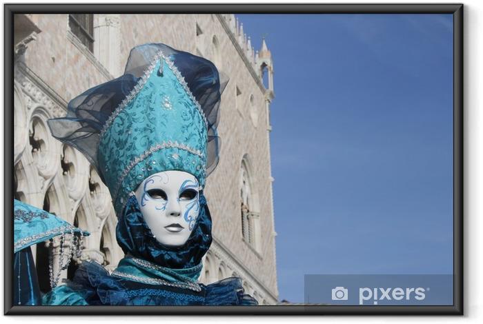 Póster Enmarcado Italia, Venecia. máscara de carnaval posando en la plaza san marco - Hobbies y entretenimiento