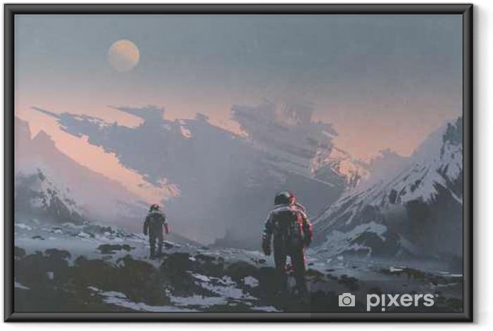 Plakát v rámu Sci-fi koncept astronautů, kteří chodí do opuštěné kosmické lodi na cizí planetě, kreslení malby - Koníčky a volný čas