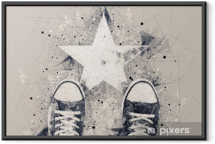 Ingelijste Poster Jonge persoon op de weg met stervorm afdruk - Mensen