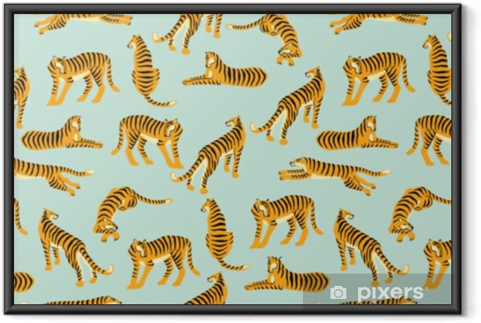 Plakat w ramie Bezszwowe egzotyczny wzór z tygrysami. projekt wektorowy. - Zwierzęta