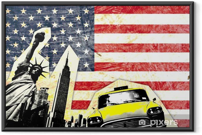 Poster i Ram Amerikanska flaggan med Frihetsgudinnan taxi gul -