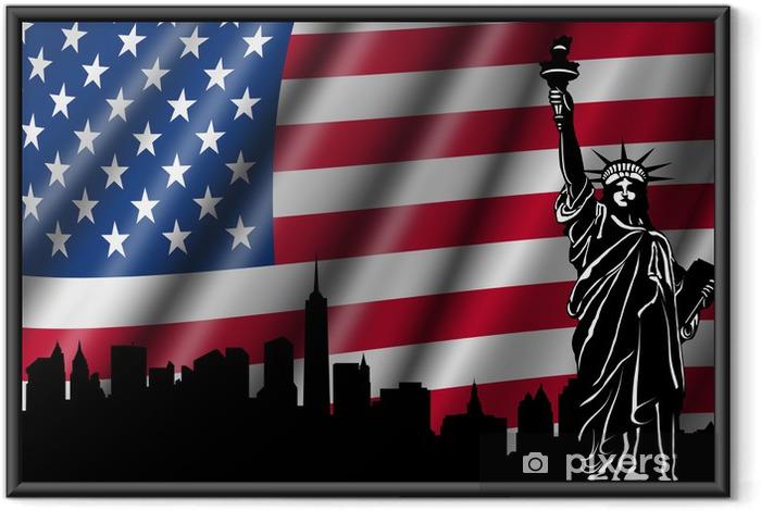 Ingelijste Poster USA Amerikaanse Vlag met Vrijheidsbeeld skyline - Nationale vlaggen