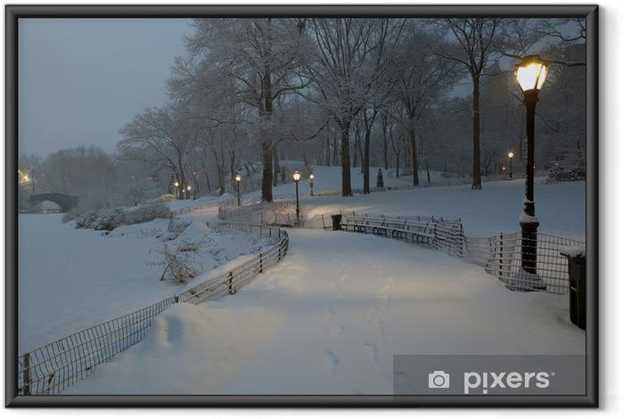 Poster en cadre Central Park dans la tempête de neige - Paysages urbains