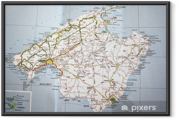 Ingelijste Poster Kaart van Mallorca - Thema's