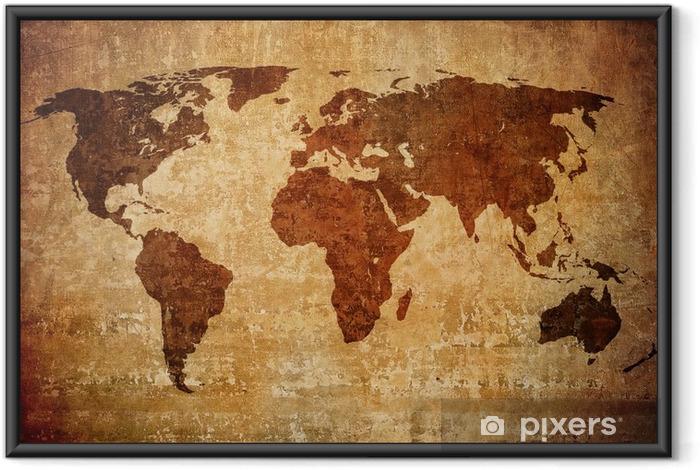 Poster i Ram Grunge världskarta. - Teman