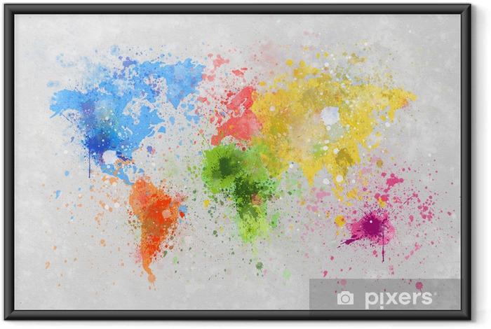 Çerçeveli Poster Dünya haritası boyama -