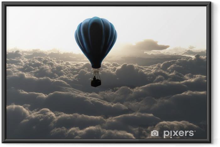 Gerahmtes Poster Heißluftballon am Himmel - Stile