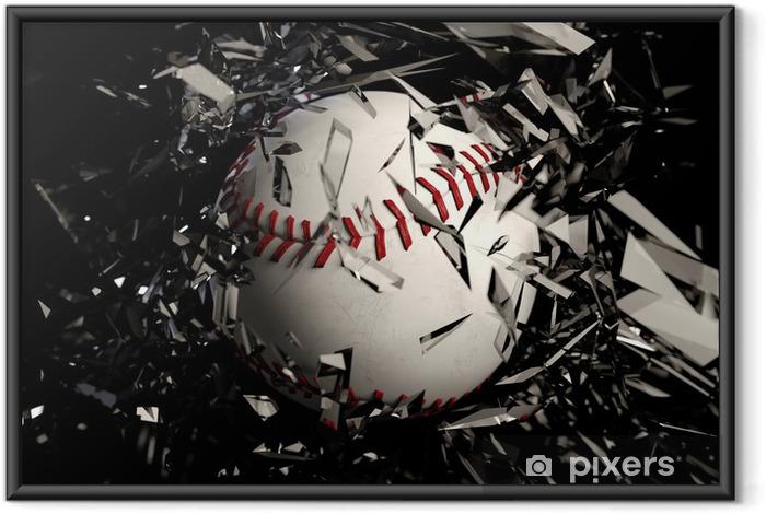 Plakat w ramie Baseball tłuczonego szkła na czarnym tle. - Artykuły sportowe