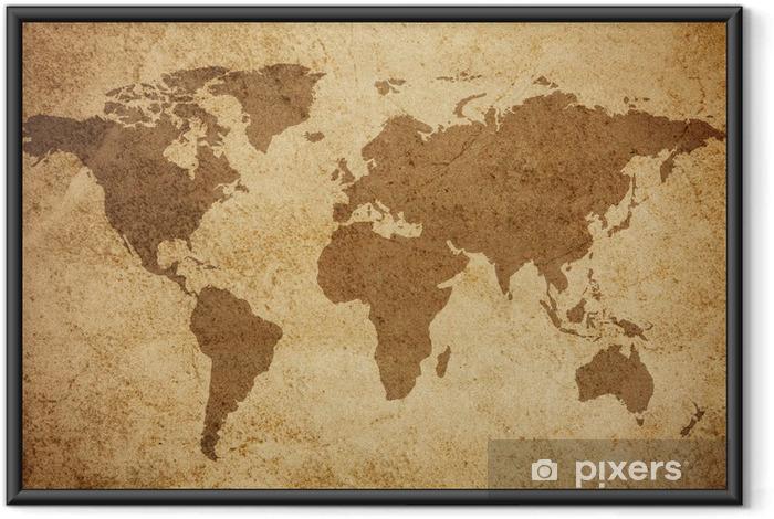 Ingelijste Poster Wereldkaart textuur achtergrond - Thema's