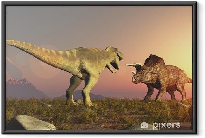 Póster Enmarcado Triceratops y Tyrannosaurus rex dinosaurios jurásicos - Temas