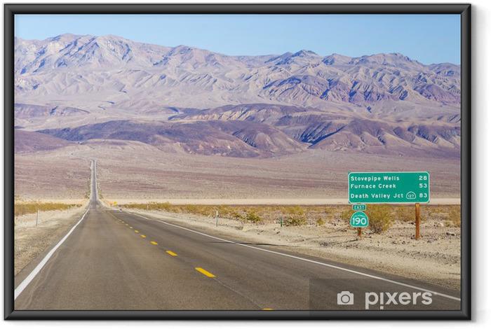 Ingelijste Poster Death Valley landschap en verkeersbord, Californië - Thema's
