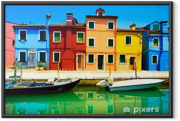 Poster i Ram Venedig landmärke, Burano island kanalen, färgglada hus och båtar, - Teman