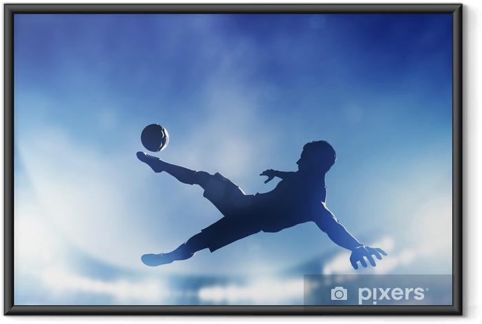 Çerçeveli Poster Futbol, futbol maçı. hedefe atış Bir oyuncu -
