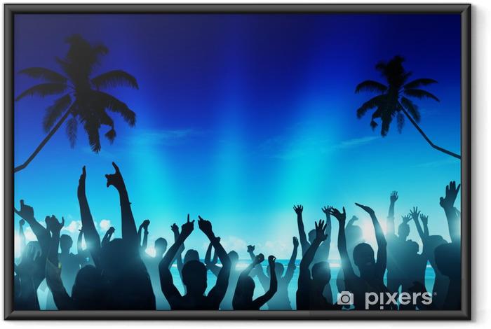 Plakat w ramie Sylwetki ludzi tańczących przy plaży - Wakacje