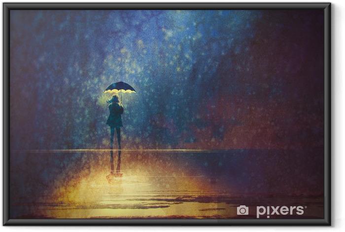 Poster in Cornice Donna sola sotto le luci ombrello al buio, pittura digitale - Hobby e Tempo Libero