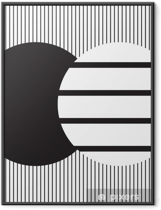 Plakat w ramie Projekt okręgu w czarno-białych pionowych paskach na tle poziomych pasków; tło i tapeta - Zasoby graficzne
