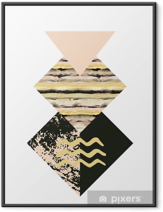 Abstract geometry shapes with watercolor and grunge textures Framed Poster - Graphic Resources
