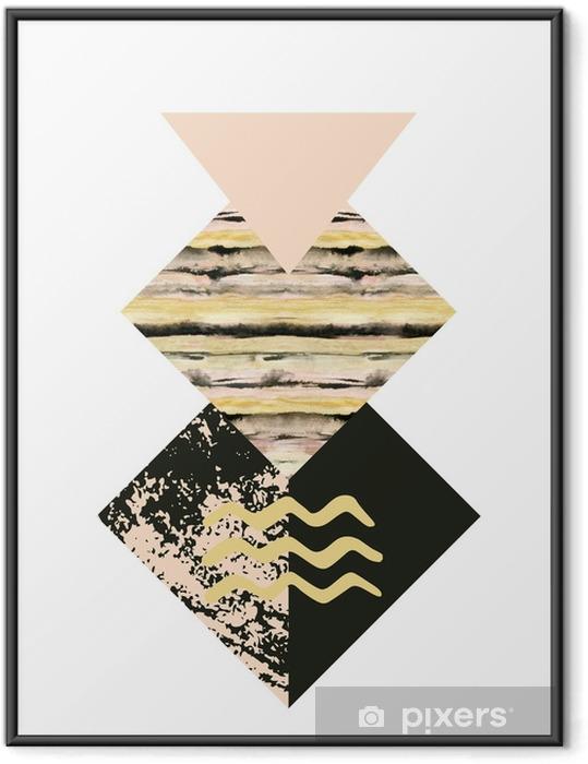 Gerahmtes Poster Abstrakte Geometrieformen mit Aquarell- und Schmutztexturen - Grafische Elemente