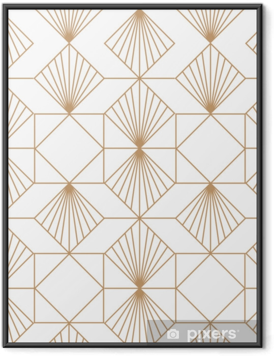 Gerahmtes Poster Retro nahtloses Muster des Art Deco. vektorkunst. - Grafische Elemente
