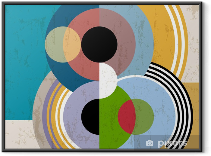 abstract background, vintage/retro geometric design, grungy Framed Poster - Art and Creation