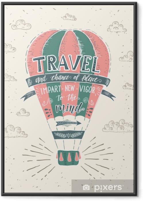 Çerçeveli Poster Seyahat. t-shirt baskısı için elle çizilmiş illüstrasyon vektörel harfli poster poster. - Nakliyat