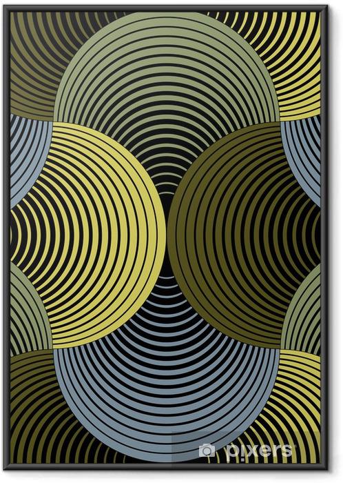 Çerçeveli Poster Süslü Geometrik Yaprakları Izgara, Özet Vektör Dikişsiz Desen -
