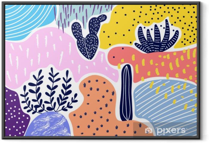 Plakat w ramie Twórczy geometryczne kolorowe tło z wzorami. kolaż. projekt do wydruków, plakatów, kart itp wektor. - Zasoby graficzne